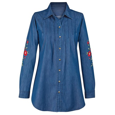 women's floral embroidered denim button down shirt, long sleeves with collar, large, (Denim Long Sleeve Button)