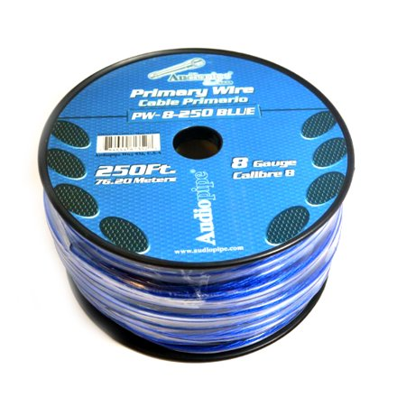 8 GA BLUE POWER WIRE PRIMARY GROUND 250FT COPPER MIX CABLE CAR AUDIO