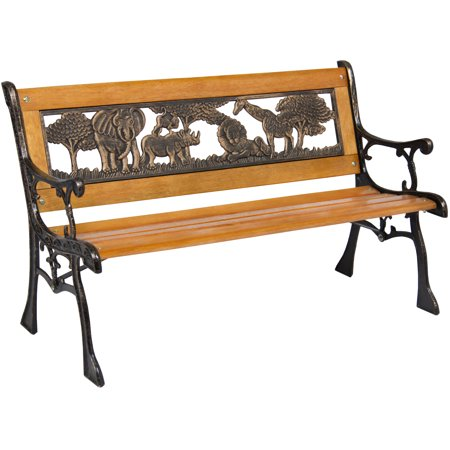 Best Choice Products Kids Mini Sized Outdoor Park Bench Decoration Accent for Patio, Porch, Yard w/ Safari Animal Accents - Brown ()