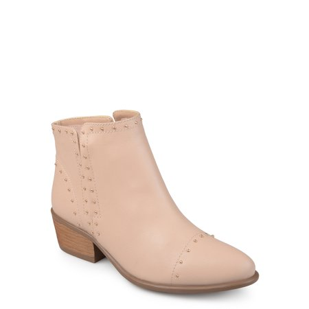 Brinley Co. Women's Faux Leather Stacked Heel Studded Ankle Boots ()