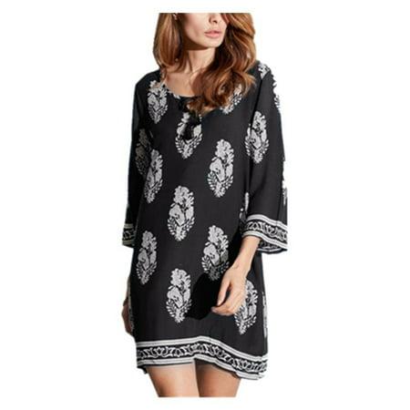 Womens 3/4 Sleeve Floral Print Lace Up Tassel Loose Mini Dresses - Charleston Dress Up