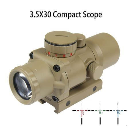 1911 Ultra Compact (TAN BDC Reticle 3.5X30 Ultra Compact Prismatic Red Blue Green Illuminated Fixed Power Scope)
