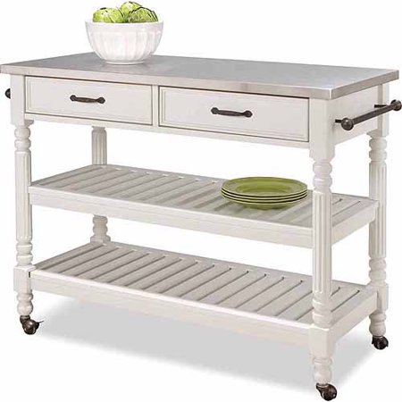 Home Styles Savannah White Kitchen Cart - Walmart.com