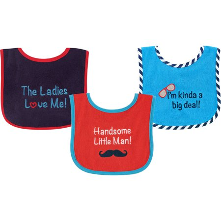 Blu Infant Bib - Luvable Friends Baby Boy and Girl Bib with PEVA Backing, 3-Pack - Blue
