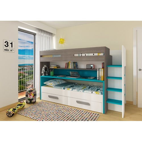 Zoomie Kids Maxon Twin Bunk Bed with Drawers and Bookcase