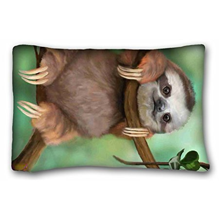 WinHome Customized Pillowcase Sloth Holding The Branches Zippered Pillowcase Pillow Case Cover Home Decoration Standard Custom Pillow Cases Size 20x30 Inches Two Sided Print Custom Made Boutique Pillowcase