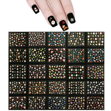 allydrew 1700 kung fu santa christmas nail stickers christmas nail art 3d nail decals