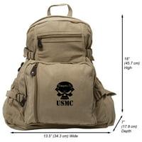USMC Semper Fi Skull Marine Corp Army Sport Heavyweight Canvas Backpack Bag
