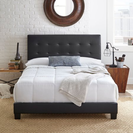 Premier Zurich II Upholstered Tufted Faux Leather Platform Bed Frame with Bonus Base Wooden Slat System, Multiple Colors & (Born Leather Platforms)