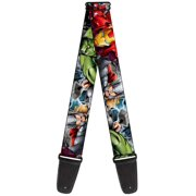 buckle-down 4 poses, 2 inches wide guitar strap-marvel avengers superheroes close-up (gs-wav012)