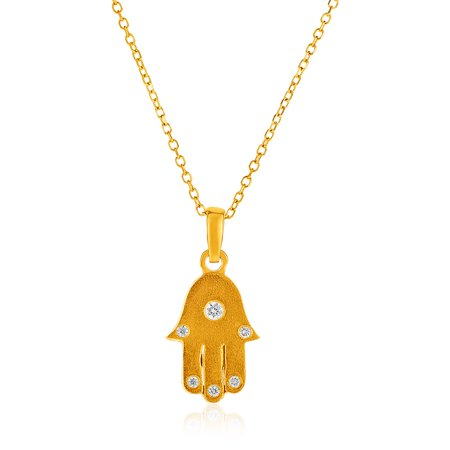 Hamsa Hand Diamond (14k Yellow Gold 18 inch Necklace with Gold and Diamond Hand of Hamsa Pendant )
