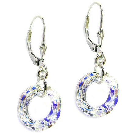 Sterling Silver Swarovski Elements Aurora Borealis Donut Crystal Dangle Earrings