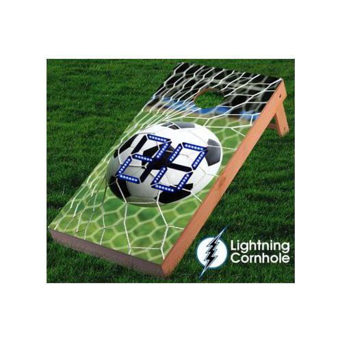 Lightning Cornhole Electronic Scoring Soccer Net Cornhole Board by