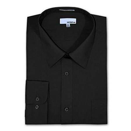 5b797496 Modena - Modena Big and Tall Poplin Dress Shirt - BLACK (38-39 18.5