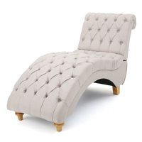 Bellanca Contemporary Tufted Fabric Chaise with Scrolled Backrest, Medium Beige and Natural
