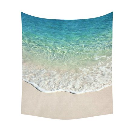 GCKG Blue Ocean Wave Sand Beach Tapestry Wall Hanging Summer Tropical Seascape Wall Decor Art for Living Room Bedroom Dorm Cotton Linen Decoration 51 x 60