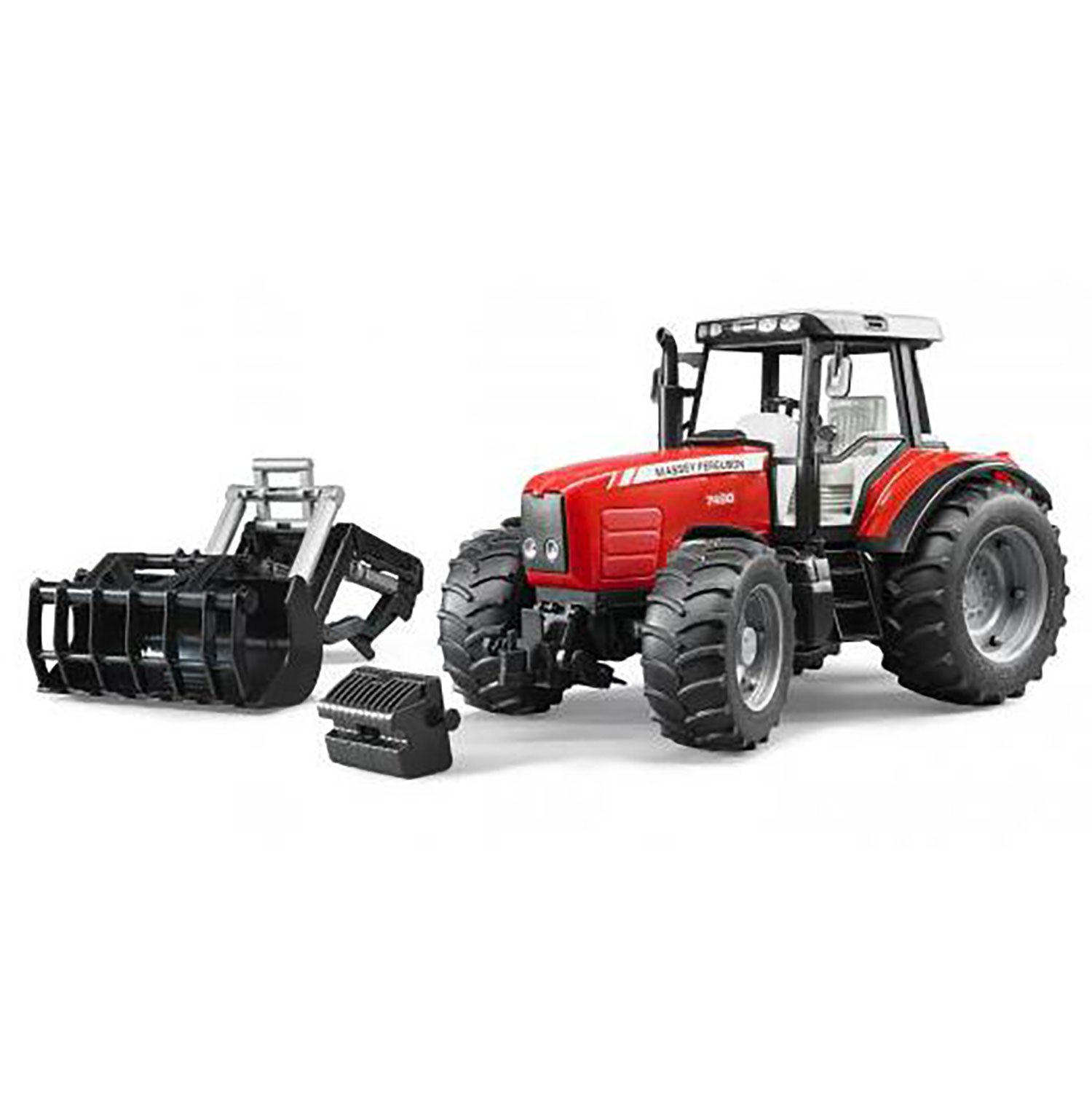 Bruder Toys Massey Ferguson Toy Farming Tractor with Attachable Front Loader by Bruder Toys
