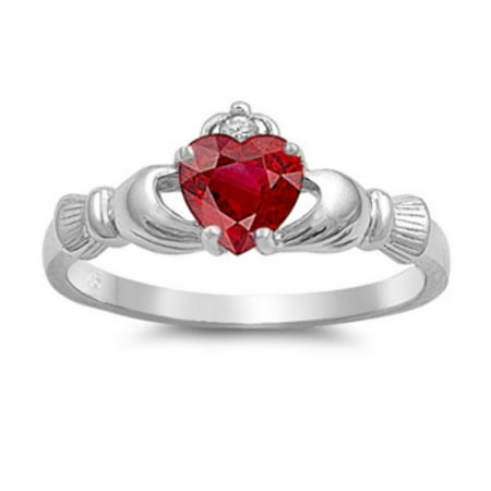 925 Sterling Silver Ruby Color Cubic Zirconia Claddagh (July Birthstone Claddagh Ring)