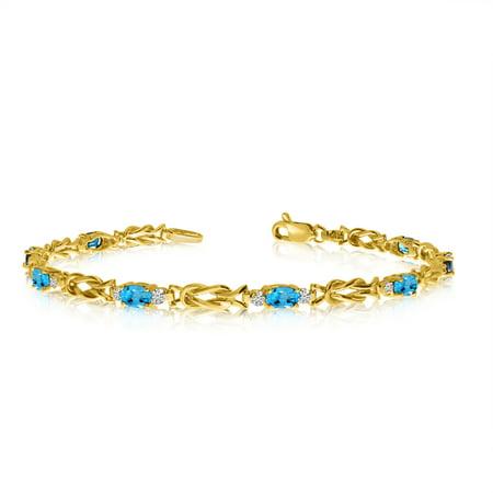 Diamond White Gold Stud Bracelets (14K Yellow Gold Oval Blue Topaz and Diamond)