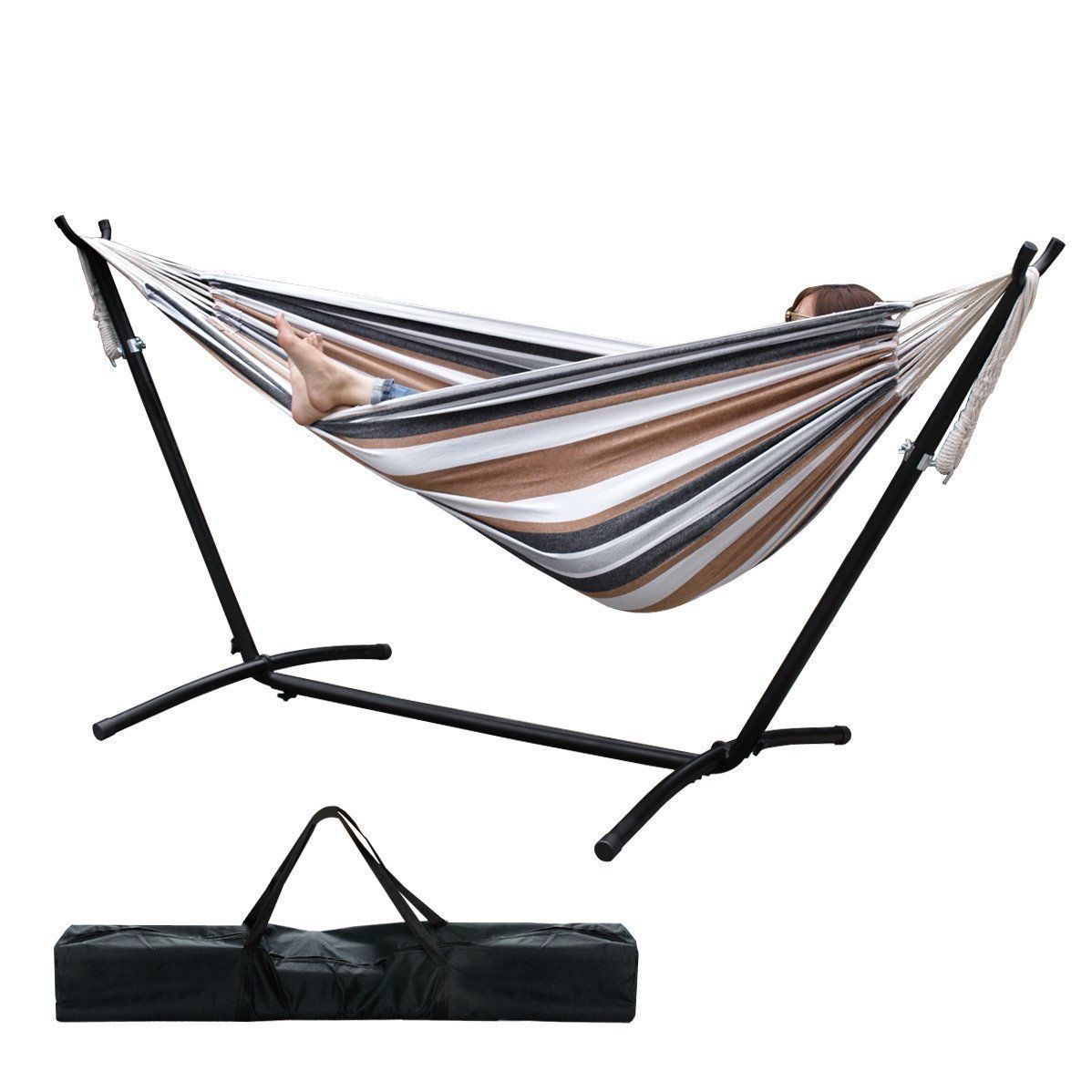 GHP 30.64-Lbs Capacity Cotton Coffe Stripe Double Hammock with Steel Stand & Handbag