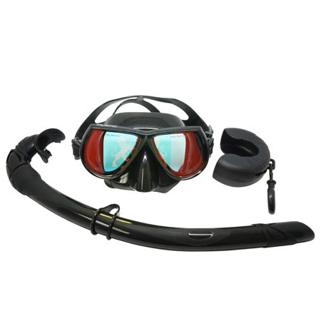 Palantic Black Mirror Coated Lenses Free Dive Low Volume Mask & Snorkel Combo