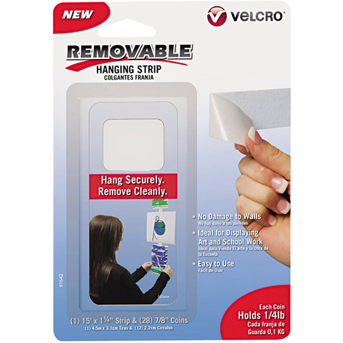 Velcro Removable Light Duty Hook and Loop Fasteners, 15' Tape and 28 Coins