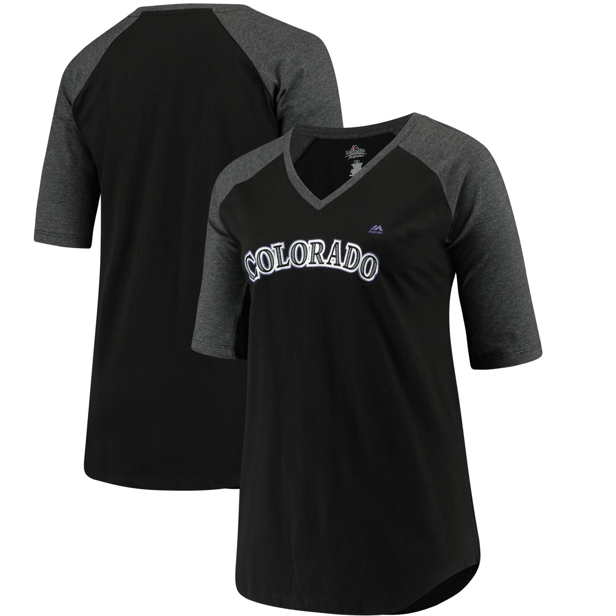 Colorado Rockies Majestic Women's Plus Size Quick Hands Half-Sleeve V-Neck T-Shirt - Black/Heathered Black