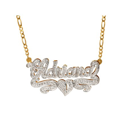 Personalized Sterling Silver or Gold Plated Nameplate Necklace with Beading and Rhodium, 18