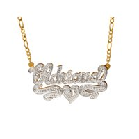 cf2e2035b45c0 Product Image Personalized Sterling Silver or Gold Plated Nameplate Necklace  with Beading and Rhodium
