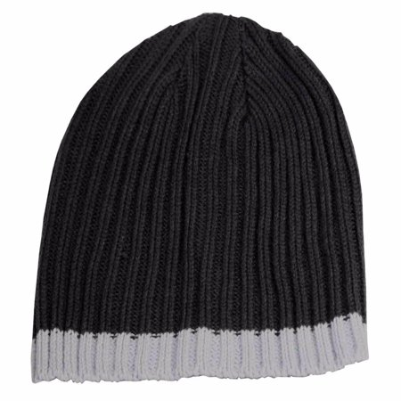 Isotoner A25038 Men's Navy Cable Knit Beanie Cap With Light Blue Accent (Accented Knit)