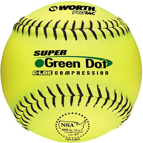 "Worth Protac Official NSA Super Green Dot Softball-11"" - 1 Dozen"