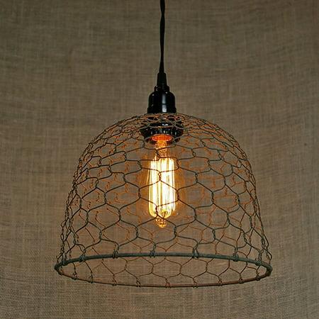 Event Decor Pendant Light Rustic Barn Roof Chicken Wire Dome Black ...