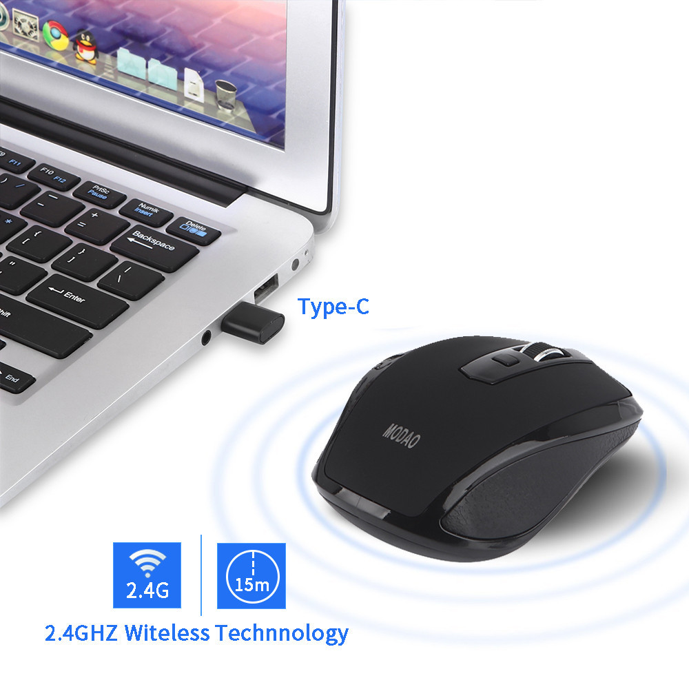 iLH Mallroom MODAO 2.4GHZ Type C Wireless Mouse USB C Mice For Macbook/ Pro USB C Devices