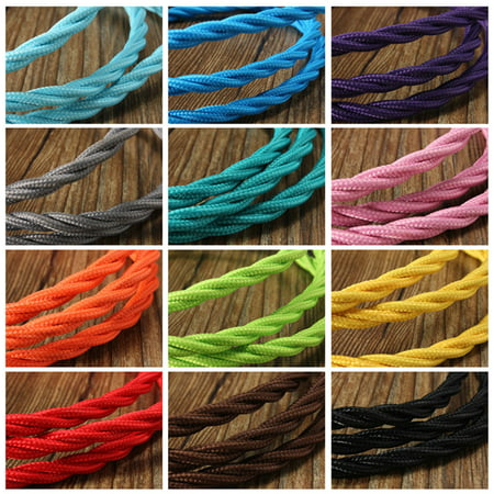 - 1M Vintage Color Twist Braided Fabric Cable Wire Cord Electric Light Lamp DIY Lighting Home Decor