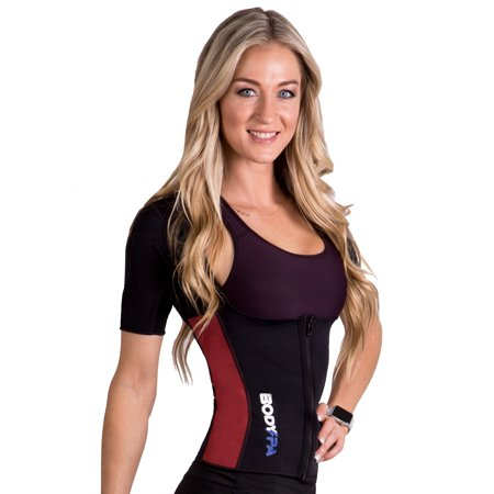 Body Spa AQUA neoprene Sauna thermo vest with sleeves for weight loss and increased sweat , perfect for gym, cardio and exercise (Burgundy Workout Jacket)