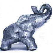 Heather Ann W071352A-B85 10 in. India Decorative Ceramic Elephant, Silver