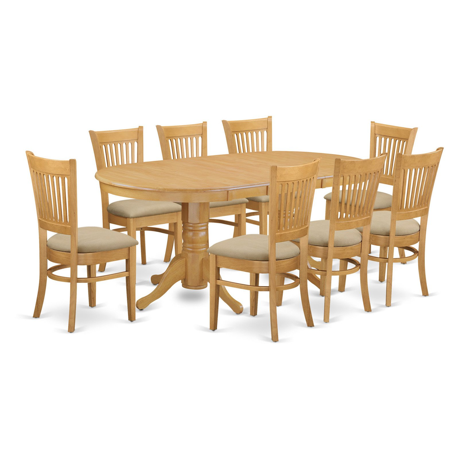 East West Furniture Vancouver 9 Piece Hepplewhite Modern Dining Table Set