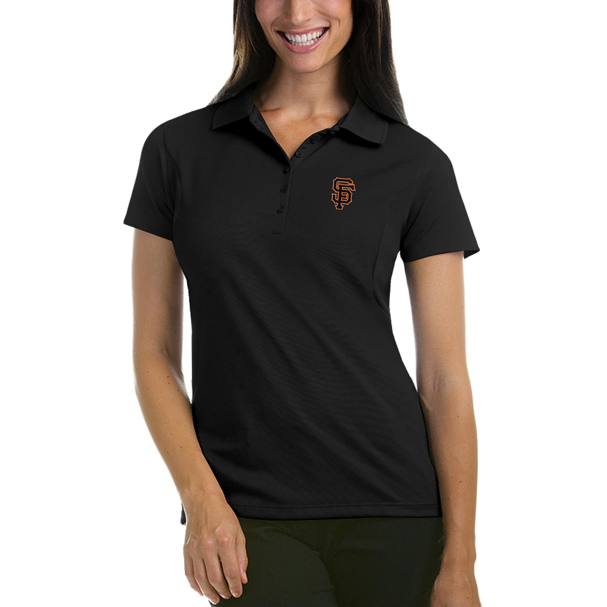 San Francisco Giants Antigua Women's Pique Xtra-Lite Polo - Black