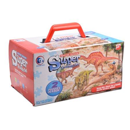 Generic Prehistoric Dinosaurs Floor Puzzles Super Puzzle Set (Set of 2 Puzzles) Dinosaur Giant Floor Puzzle