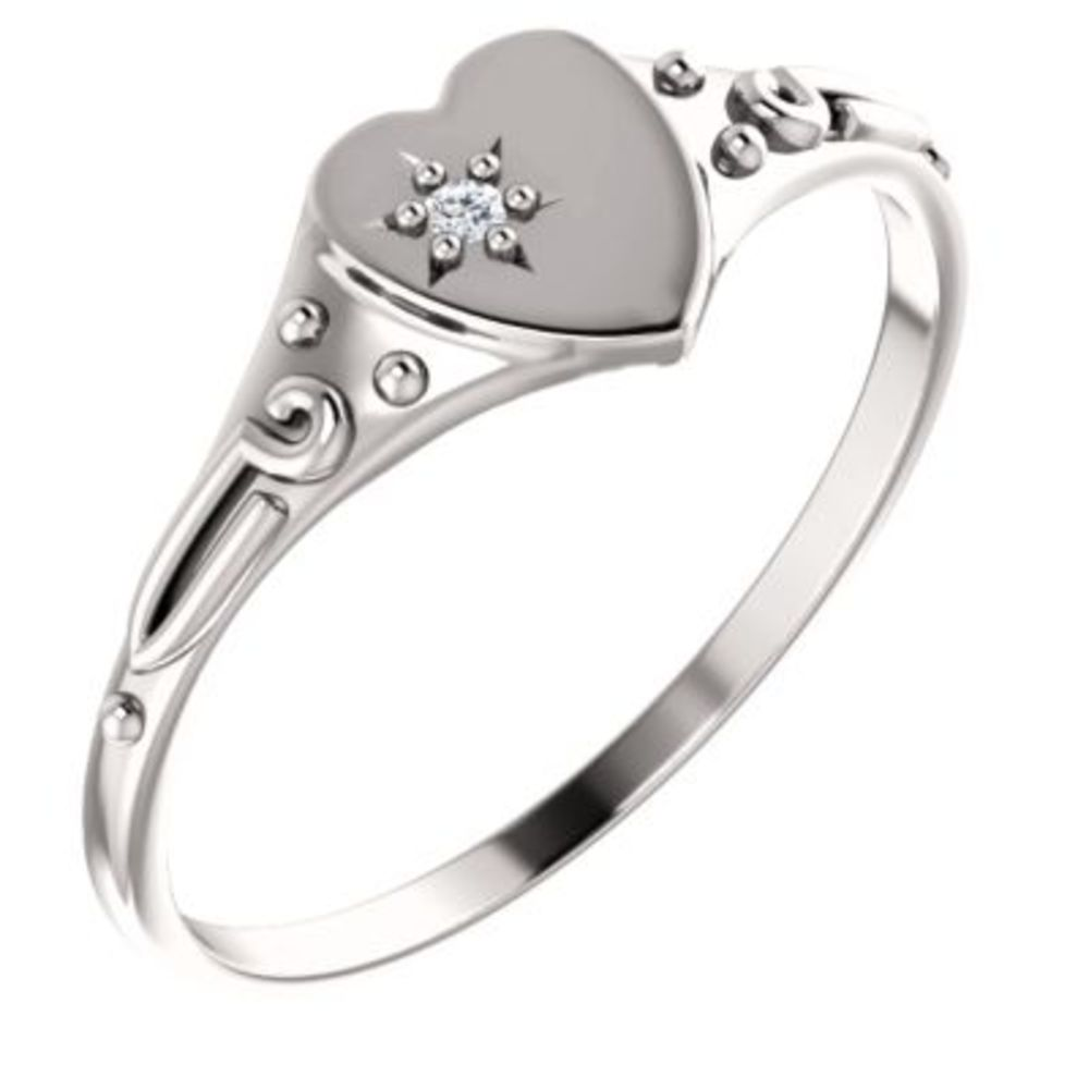 Youth Heart with Diamond Ring in 14k White Gold - Size 3