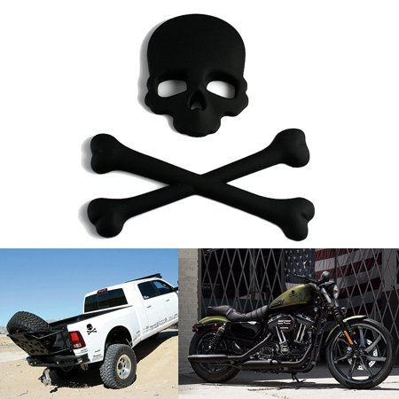 (Xotic Tech Cross Bones Skull Skeleton Matte Black Metal 3D Emblem Badge Sticker Decal For Car, SUV, Truck, Off Road, Motorcycle, Boat, Cruise)