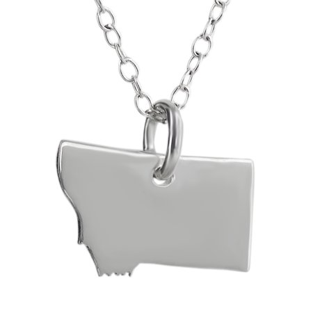 Sterling Silver U.S. Montana State Charm Necklace, 18