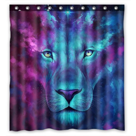 GCKG Galaxy Lion Bathroom Shower Curtain, Shower Rings Included 100% Polyester Waterproof Shower Curtain 66x72 inches ()