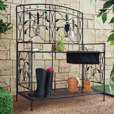 Coral Coast Willow Creek Metal Potting Bench   Black