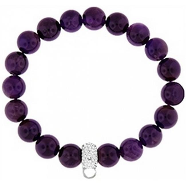 Doma Jewellery DJS01439 Bracelet with Crystal Charm Enhancer - 10mm Amethyst Beads