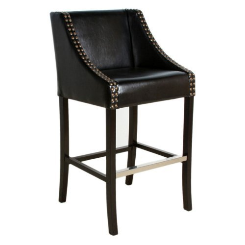 Black Studded Leather Bar Stool Walmart Com