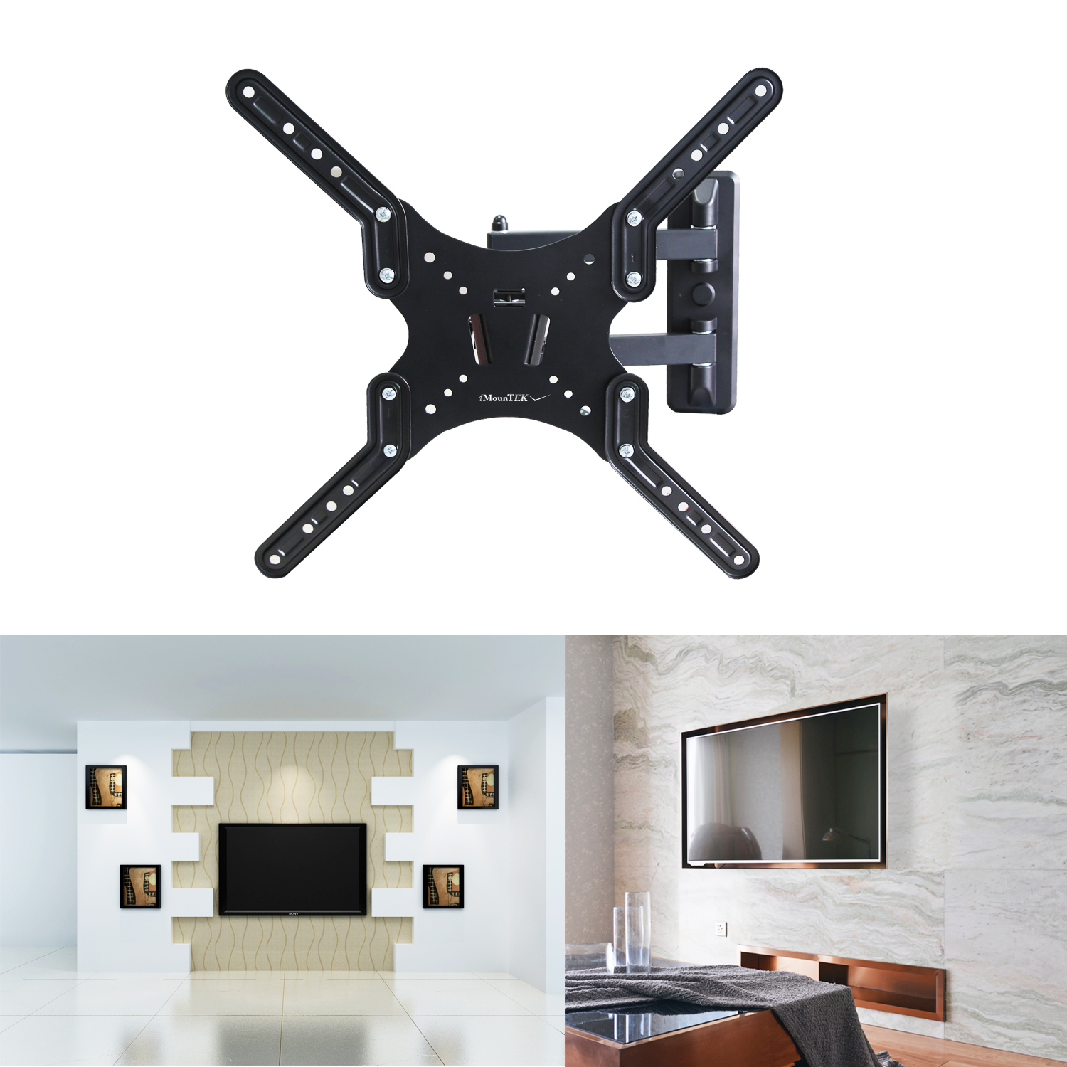 "iMounTEK Tilting TV Wall Mount Bracket For 23"" TO 55"" LED/LCD/OLED/Plasma Flat Screen TV. Full Motion Swivel Articulating Dual Arms, 66 LBS Hold- Sony/LG/Samsung/Panasonic/Vizio/Toshiba"