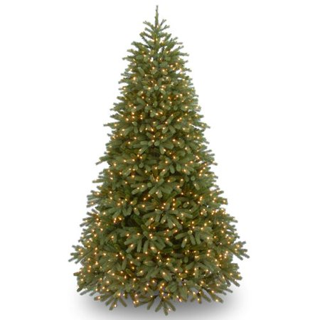 National Tree Pre-Lit 9 Feel Real Jersey Frasier Fir Medium Hinged Artificial Christmas Tree with 1500 Clear Lights