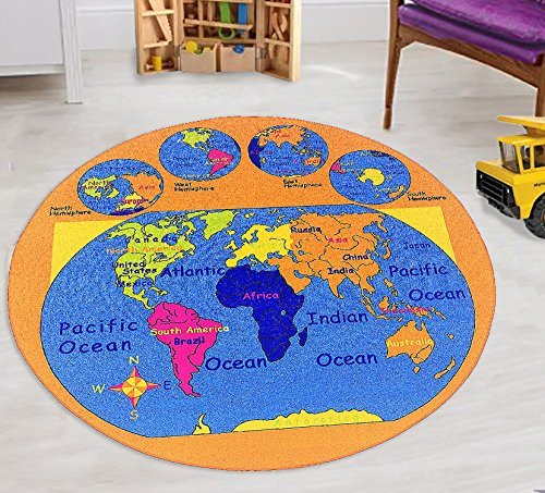 World Map Kids Educational Play Mat For School/Classroom / Kids Room/Daycare/  Nursery Non Slip Gel Back Rug Carpet (8 Feet Round)   Walmart.com