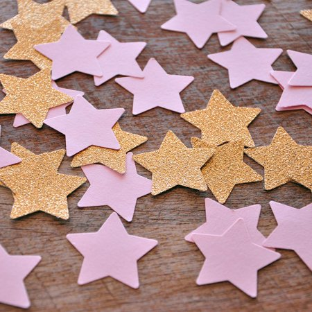 Pink And Gold Party Decor  Ships In 1 3 Business Days  Twinkle Twinkle Little Star  Pink And Glitter Gold Star Confetti 50Ct